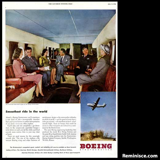 This Boeing ad sure looks fancy, doesn't it? Don't you wish planes were still designed like this? Pending safety requirements, of course!