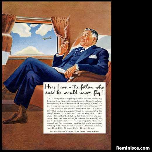 This American Airlines ad is a little Mad Men era, don't you think? He's just missing a martini!