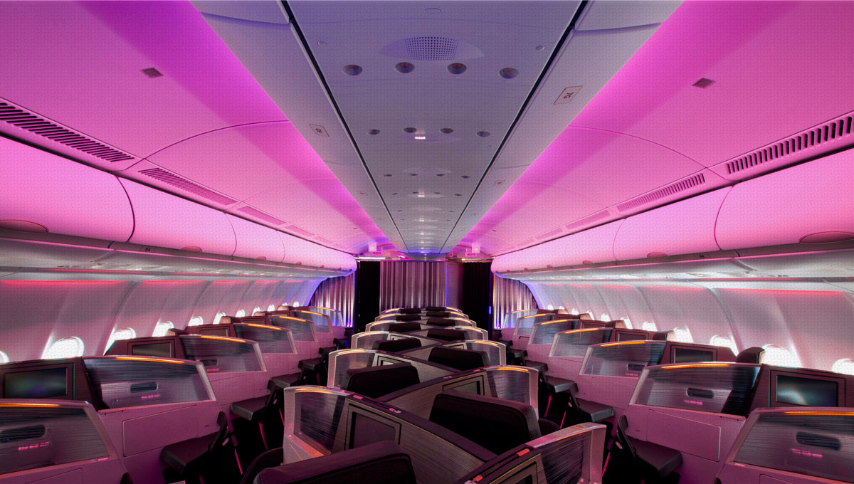 Business First Class Flights Inside Virgin Airlines Cabin