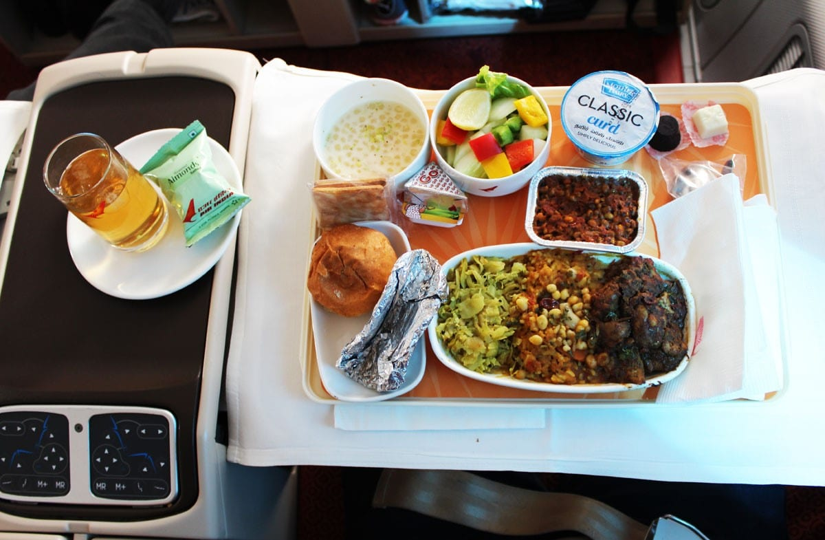 How tasty the business class food is