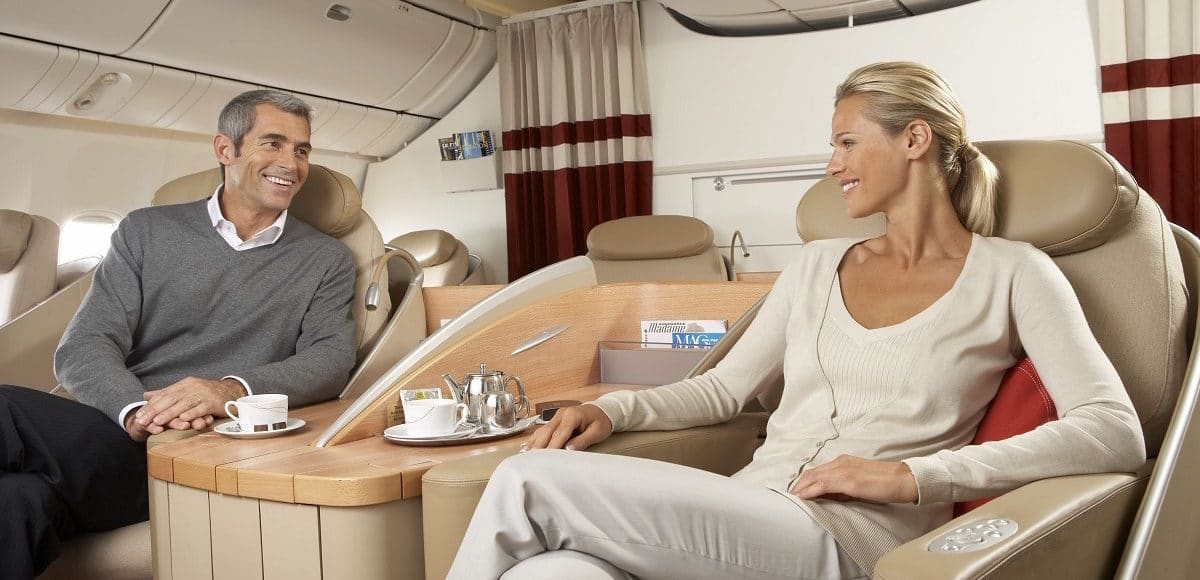 business class flight interior
