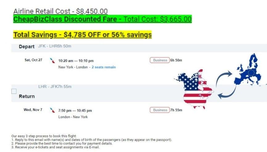 CheapBizClass discounted business class tickets